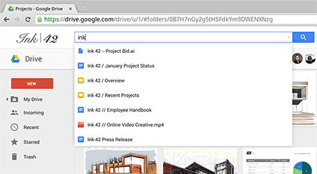 Google Drive search functionality displayed