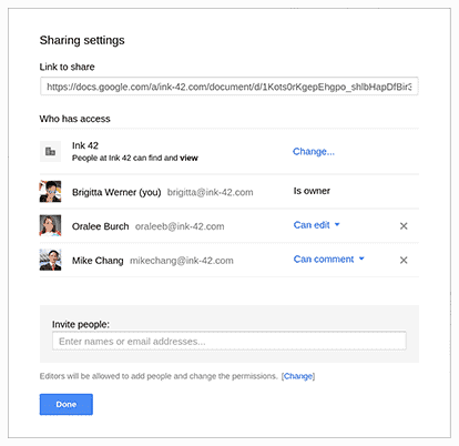 Google Drive sharing and collaboration example