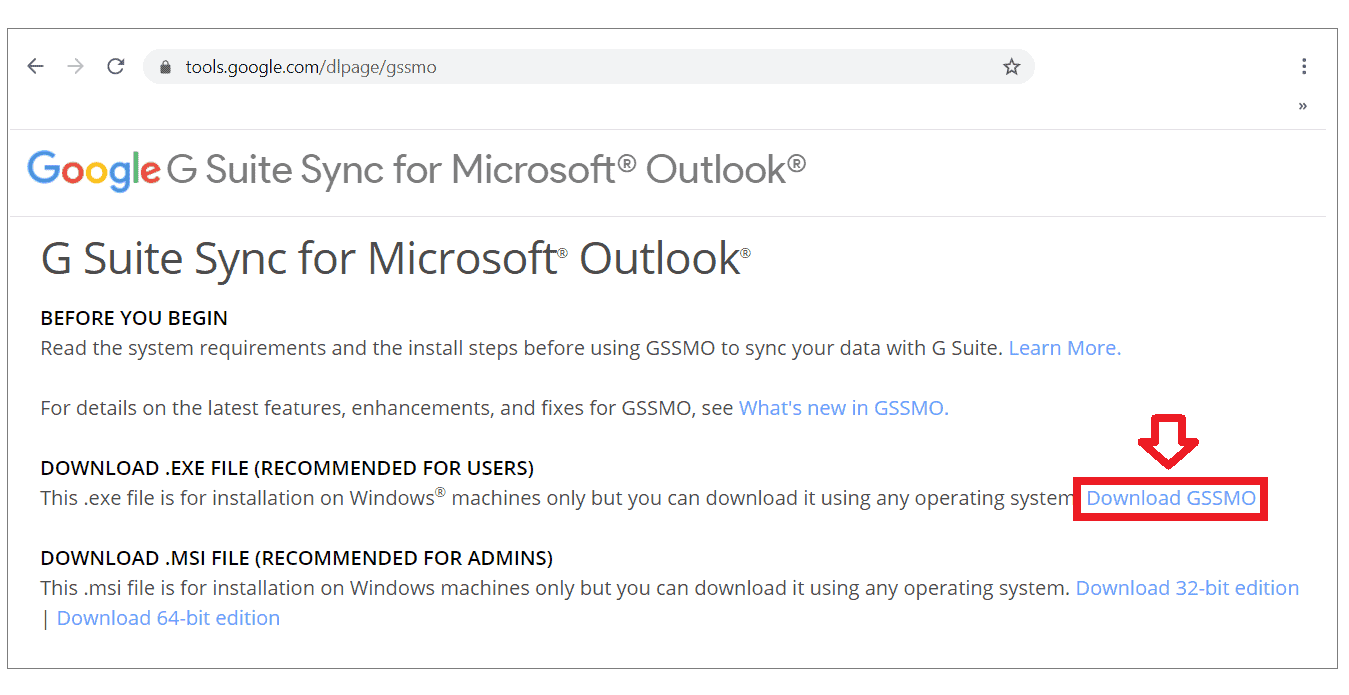 huong dan cai dat outlook su dung g suite sync for microsoft outlook gssmo 8