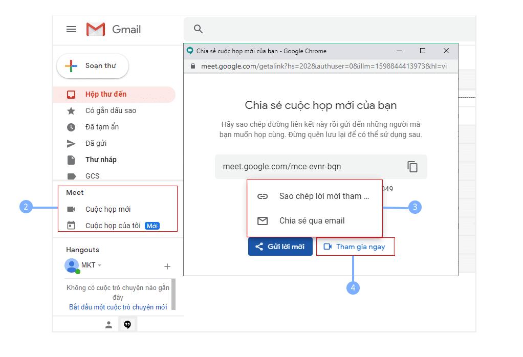 họp video trực tuyến trong gmail