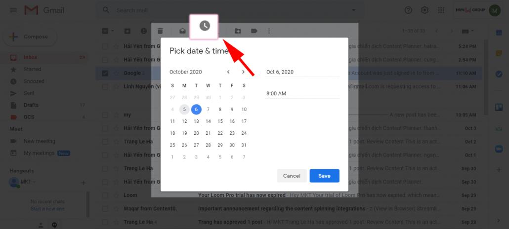 tương tác với Gmail