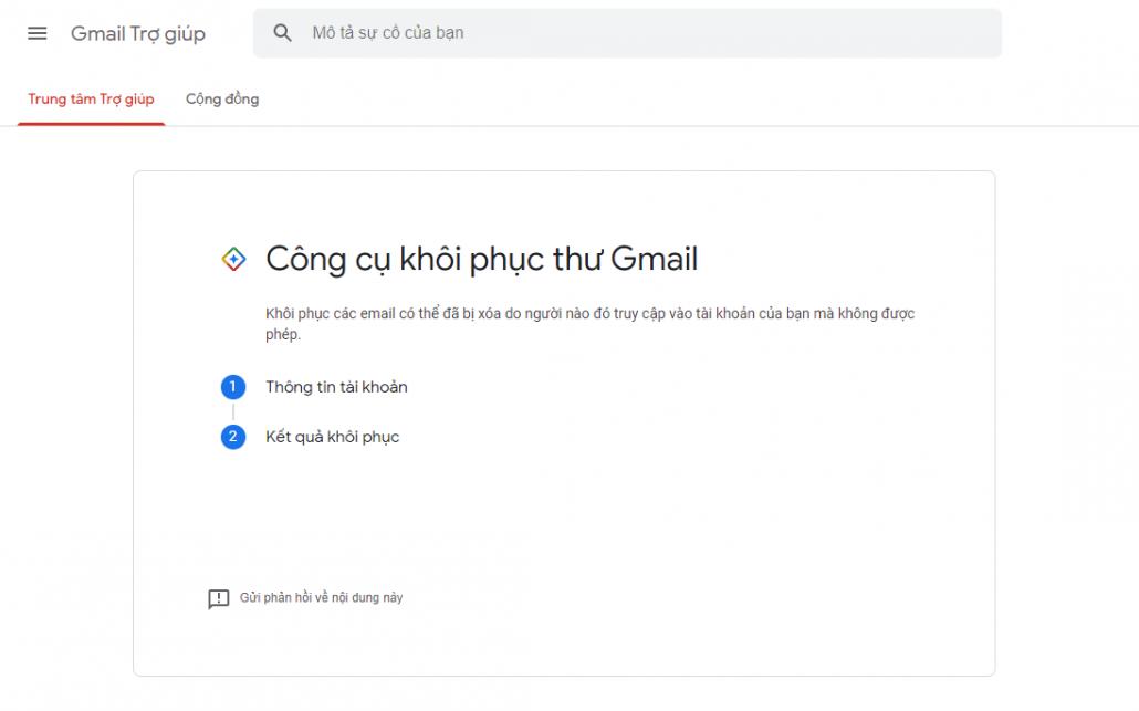 khôi phục email đã xóa