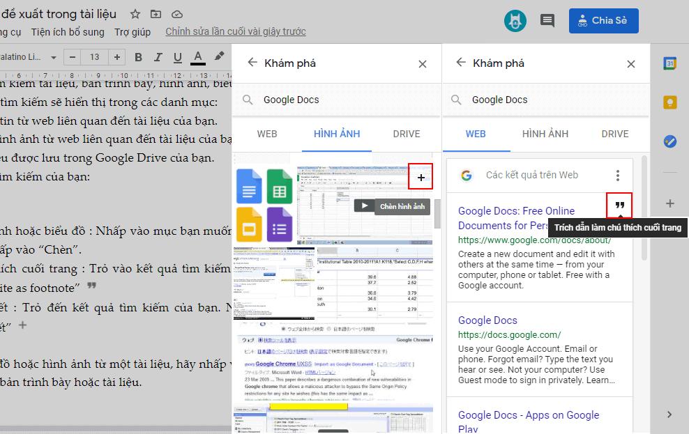 đề xuất trong Google Docs