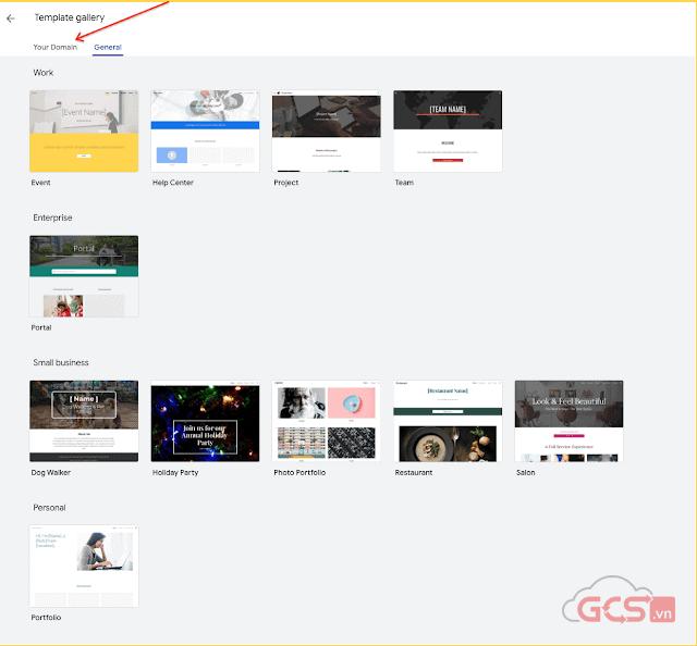 cap nhat template cho thiet ke google sites 1